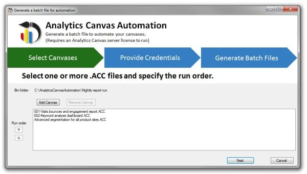 google analytics automation to databases analytics canvas automation wizard