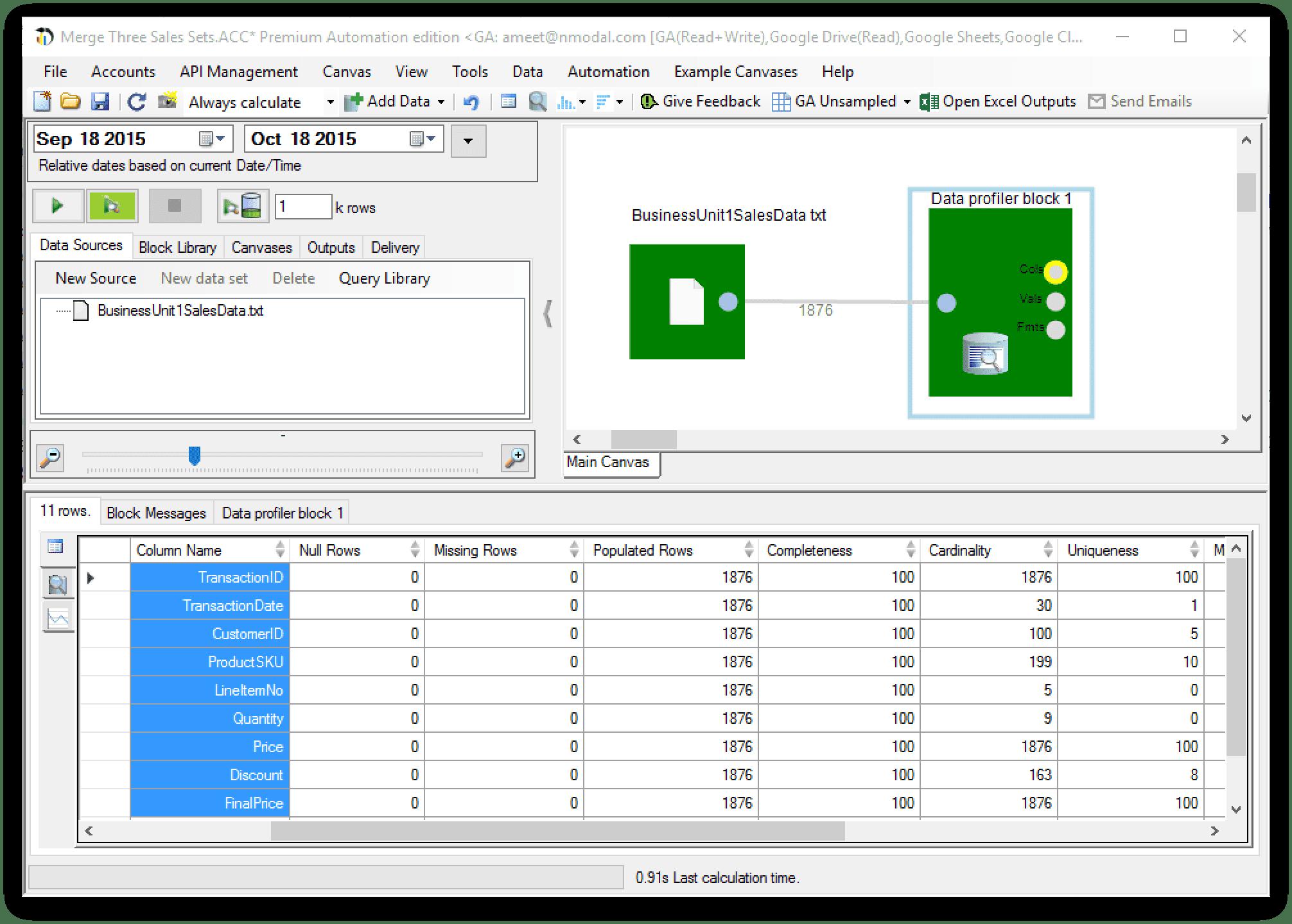 data profiler block - analytics canvas