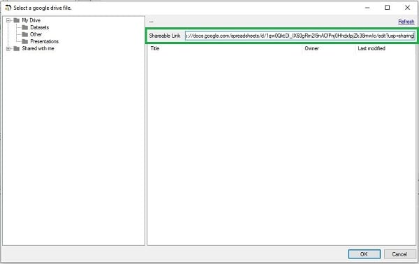 Analytics Canvas V1.8.4 Google Sheets Import Link