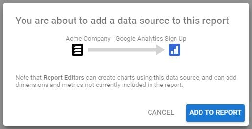Google Data Studio 360 Add to Report