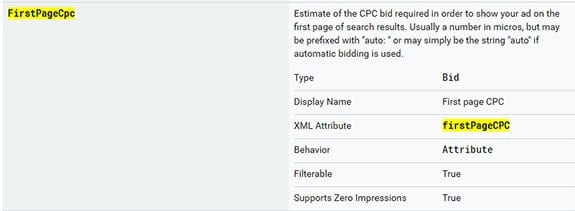 firstPageCPC - estimate of the CPC bid to show ad on first page search results