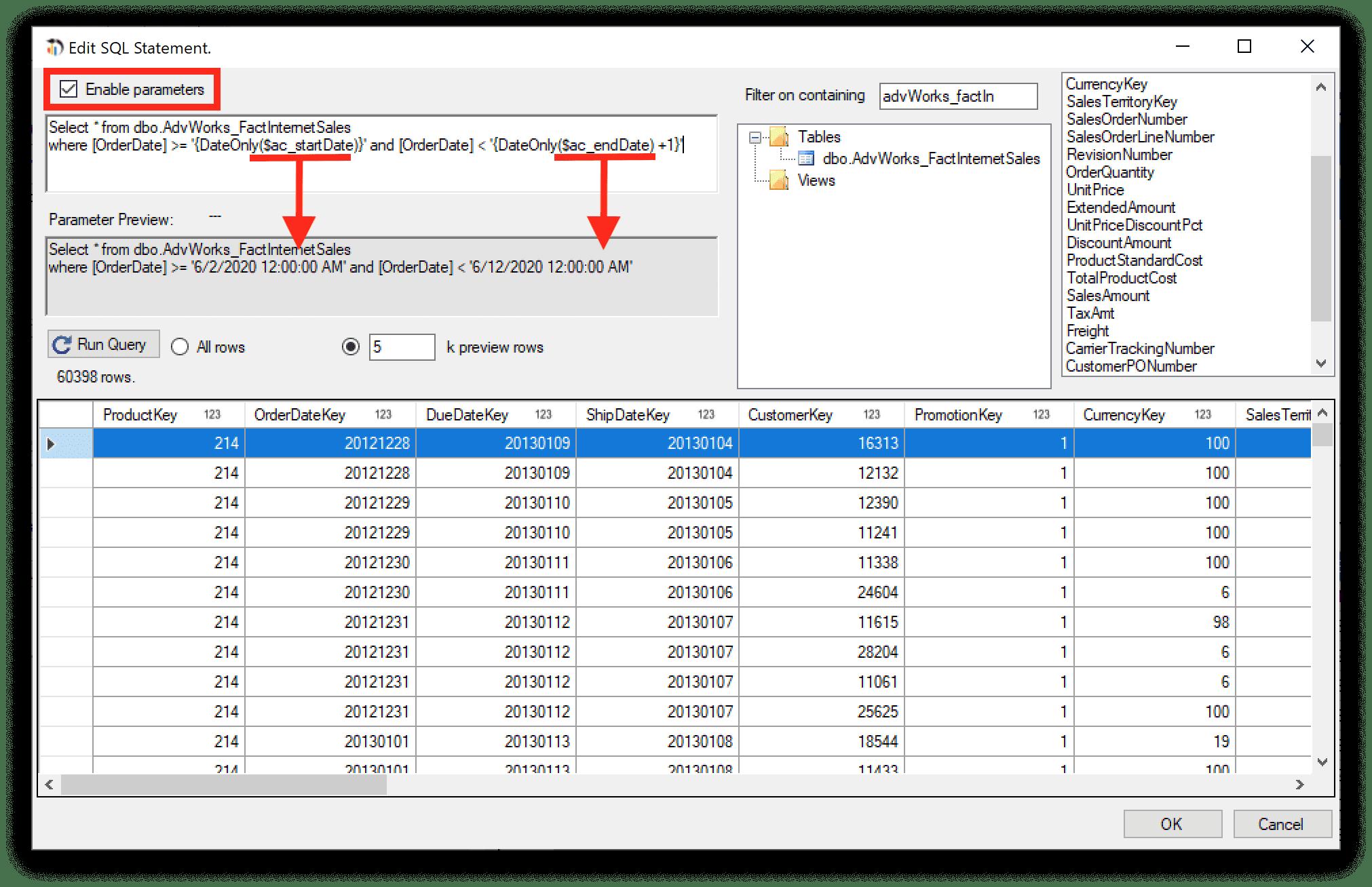 using date parameters