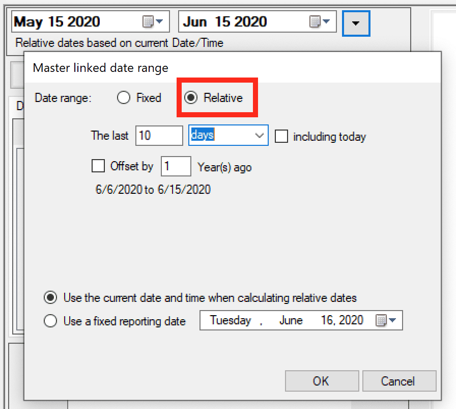 using a relative date range for the incremental load